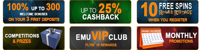 All the bonus offers at Emu pokies casino